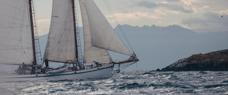 sailboat with five sails unfurled at sea