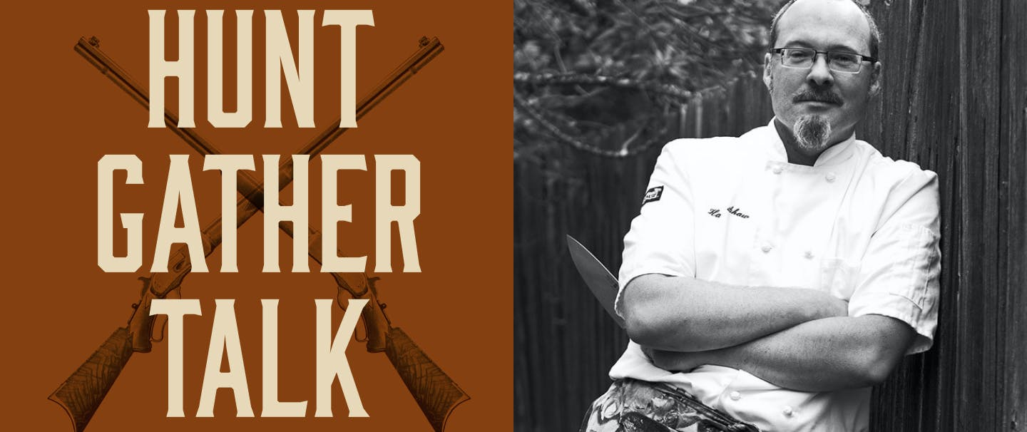 Hunt Gather Talk Podcast header image and portrait of man in chef coat holding knife