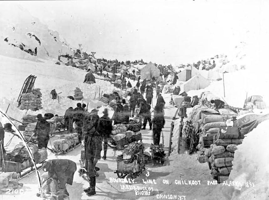 US-Canada border on the Chilkoot Pass, 1898