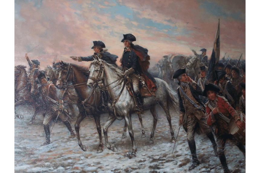 painting of george washington on a white horse leading revolutionary war era soldiers through a snowy field