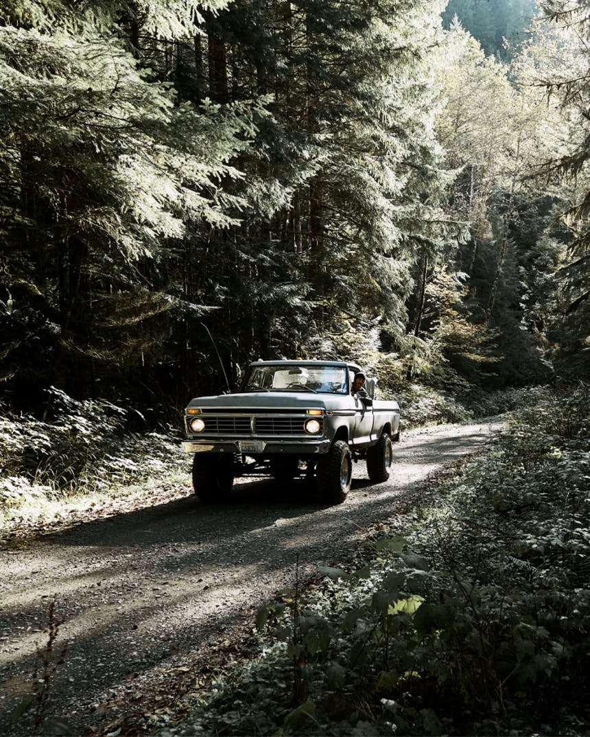 vintage truck driving up gravel road in middle of lush pine forest