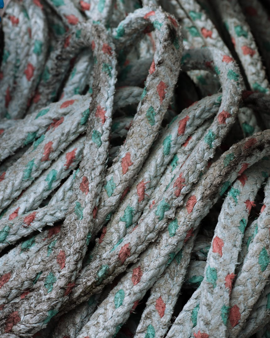 close-up detail of woven cord with red and green accents