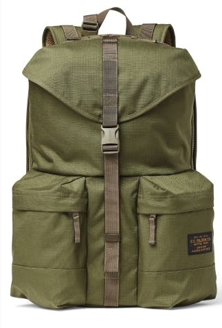 green filson backpack with central strap and two large zip pockets at base on either side