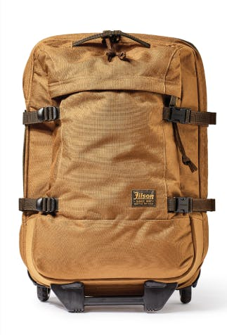 filson tan wheeled luggage with brown straps