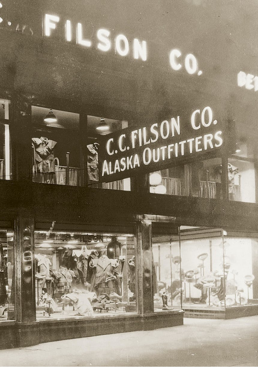 Black and white image of old Filson Co. Storefront