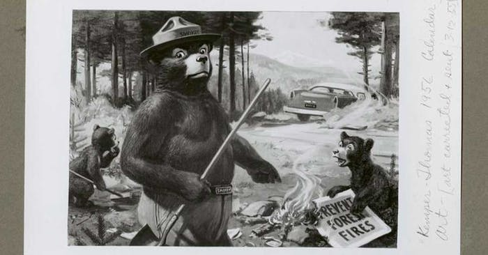 illustration of smokey the bear pointing to a sign burning next to a couple of bear cubs holding a sign that says