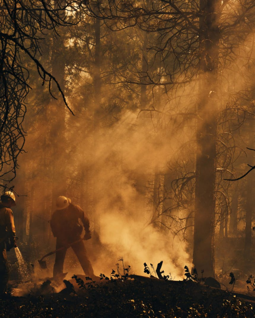 two wildland firefighters standing in a forest working on firelines with smoke rising into the air