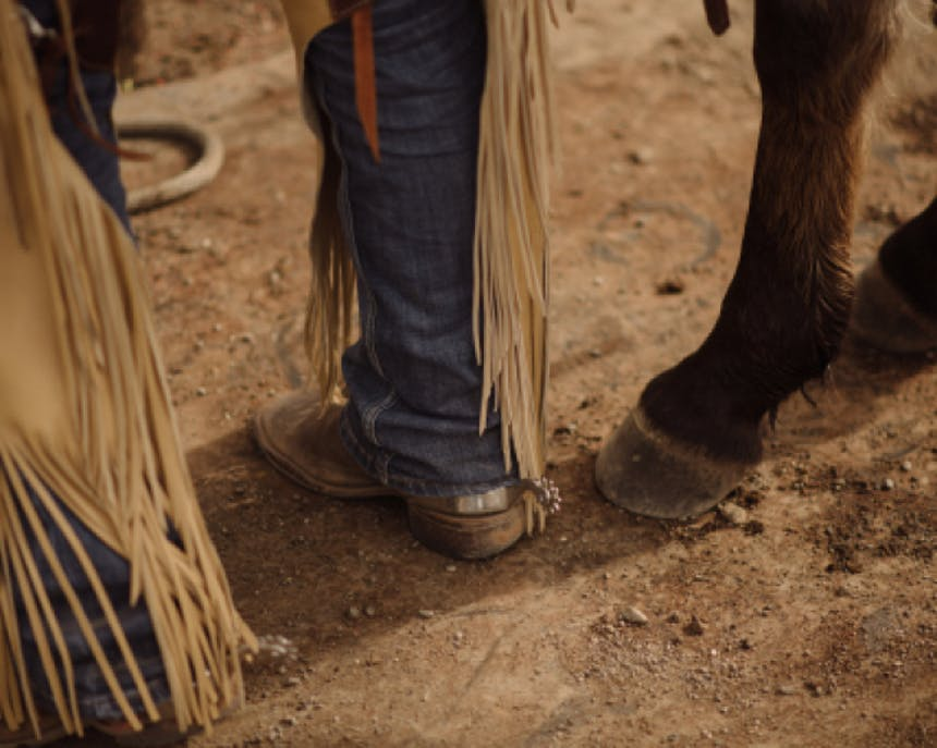 closeup image of horse hooves and person's feet in boots and chaps