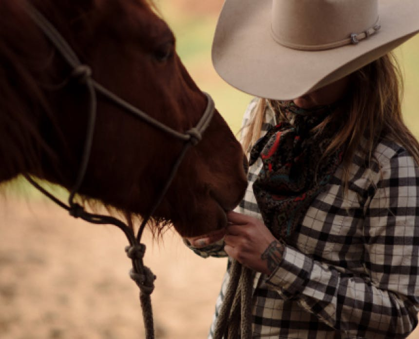 woman in black and white plaid shirt and white hat feeding a horse