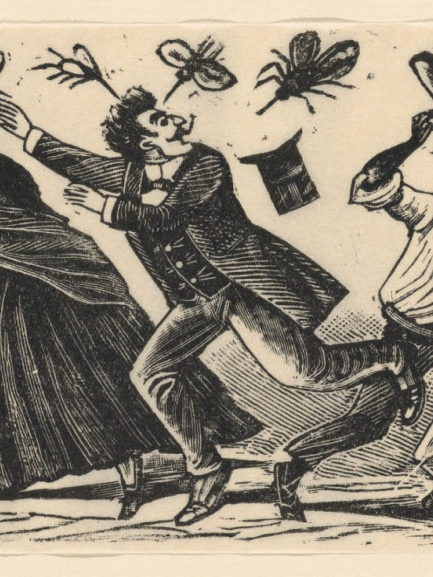 illustration of man wearing victorian suit and top hat running from fancifully large flies