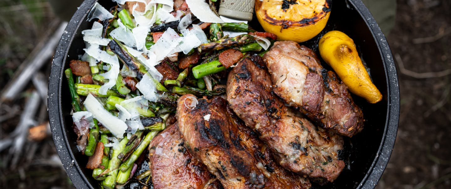 Pork Shoulder with Foraged Asparagus & Wild Spring Onions_1200x628