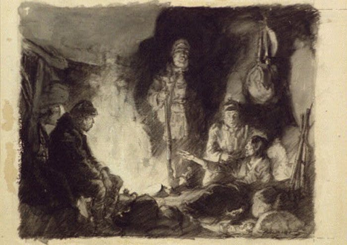 illustration of group of people in a yurt standing around a campfire