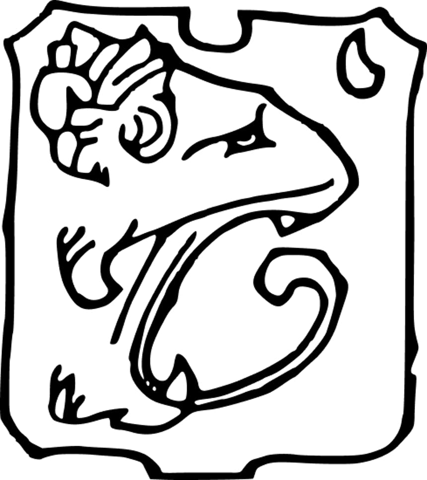 line drawing that evokes a serpent or other predator