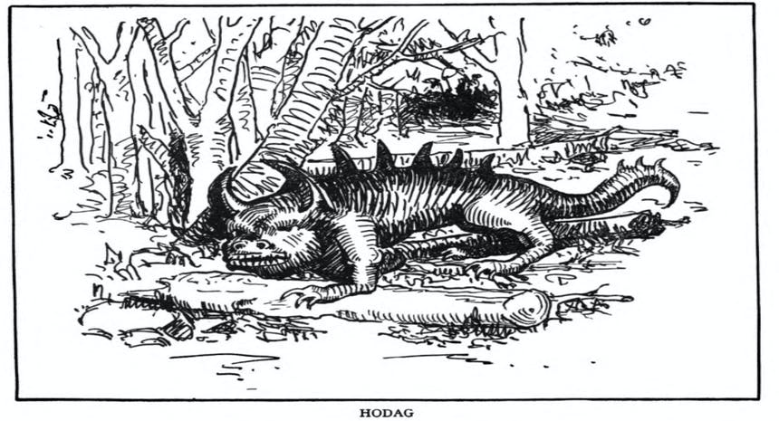 illustration of a lizard/bull type creature with horns, captioned