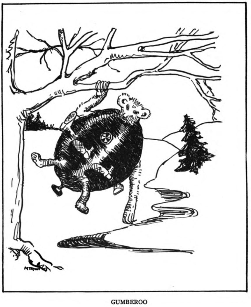 fanciful drawing of a bear type creature hanging from a tree branch, thorax is in the shape of a large black cauldron type structure