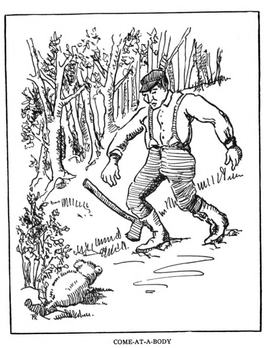 illustration of a logger coming upon a small creature in the woods, caption
