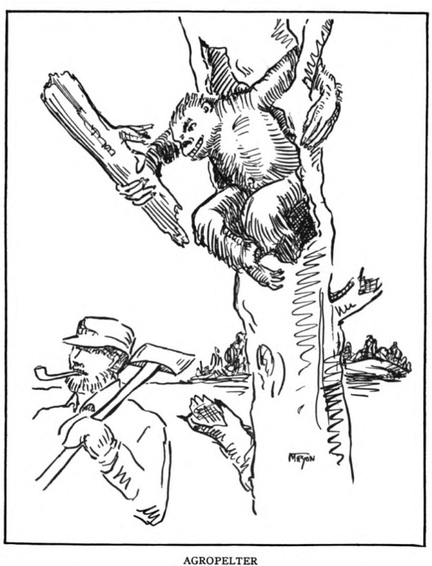 illustration of a small simian like animal coming out of a hole in a tree holding a large log, sneaking up on a lumberjack holding an axe