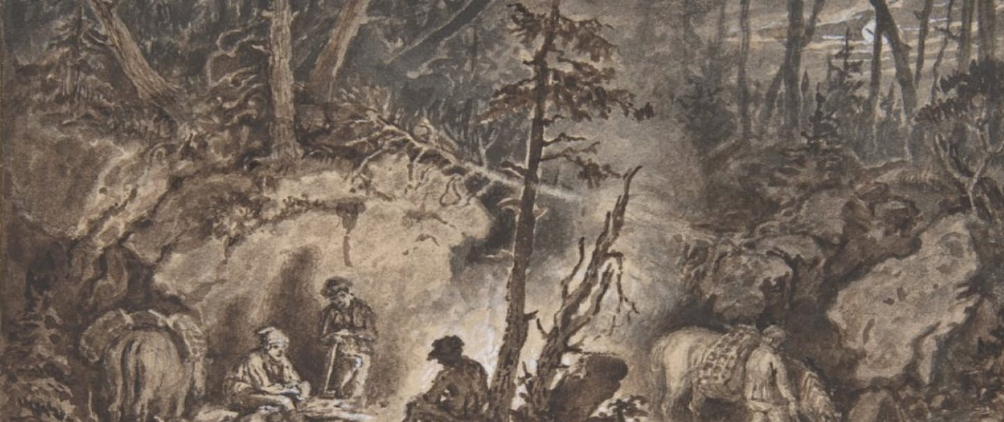 stylized painting of people sitting around a campfire in spooky looking woods