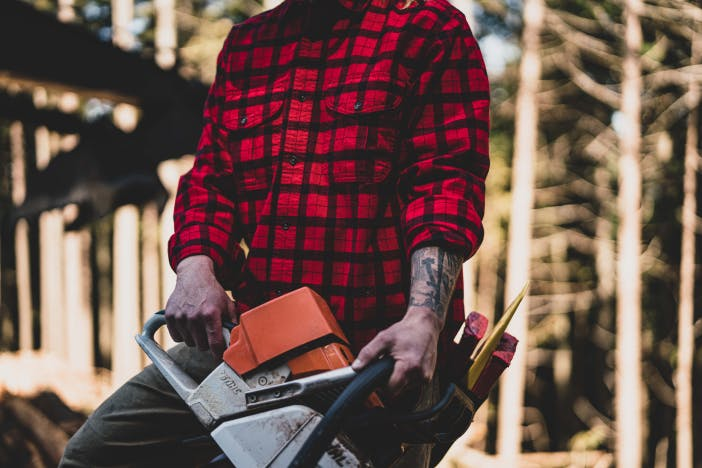 person in red and black flannel holding a saw in a forest
