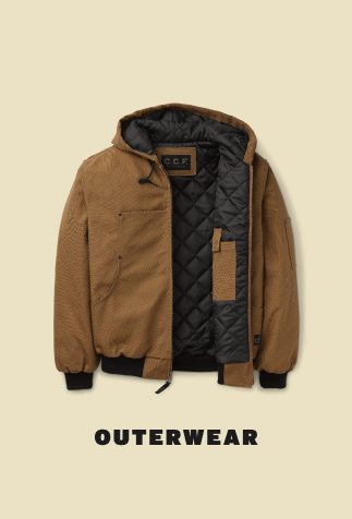 outerwear, image with brown coat with black pleated inner