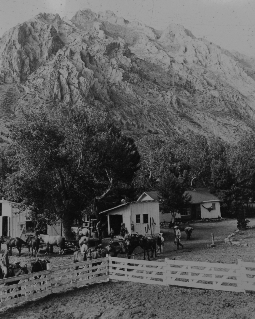 black and white image of the mcgee creek pack station