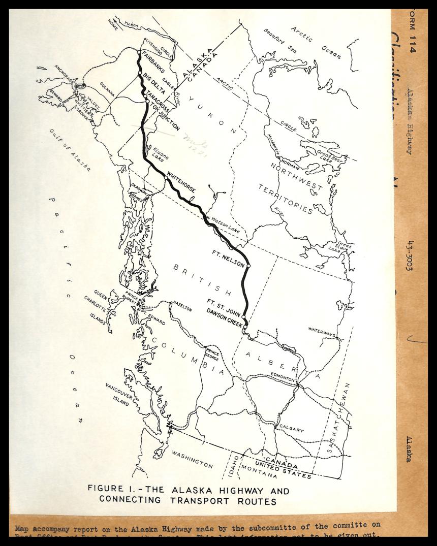 map of british columbia, alberta, the yukon documenting the alcan highway