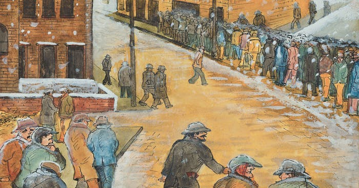 painting of people waiting in line for a soup kitchen