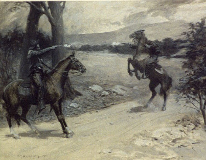painting of two cowboys on horses shooting at each other on a dirt road