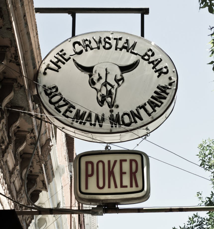 the crystal bar bozeman montana signage