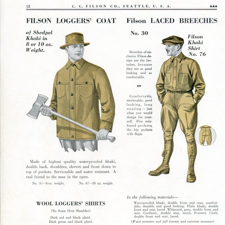 vintage Filson Ad with diagrams of Filson wool Logger's shirt and full body Filson Laced Breeches and Khaki Shirt Number 7