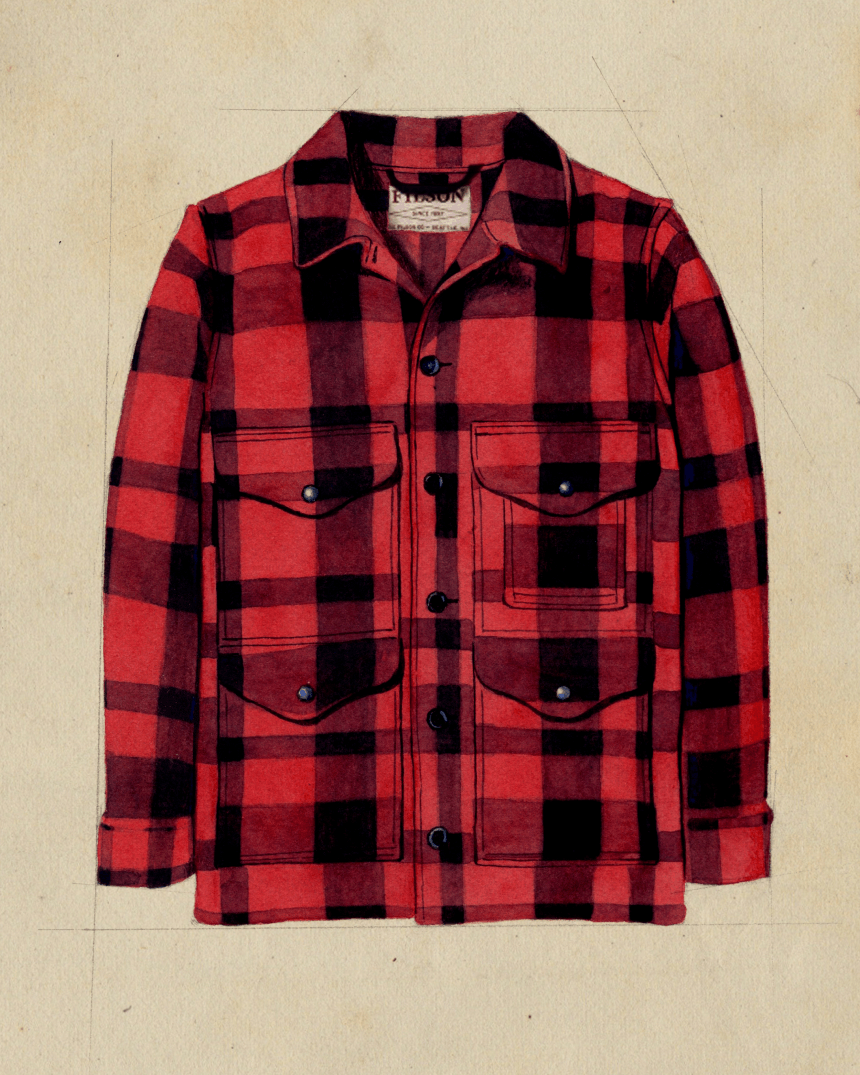fashion sketch of red four pocket flannel shirt