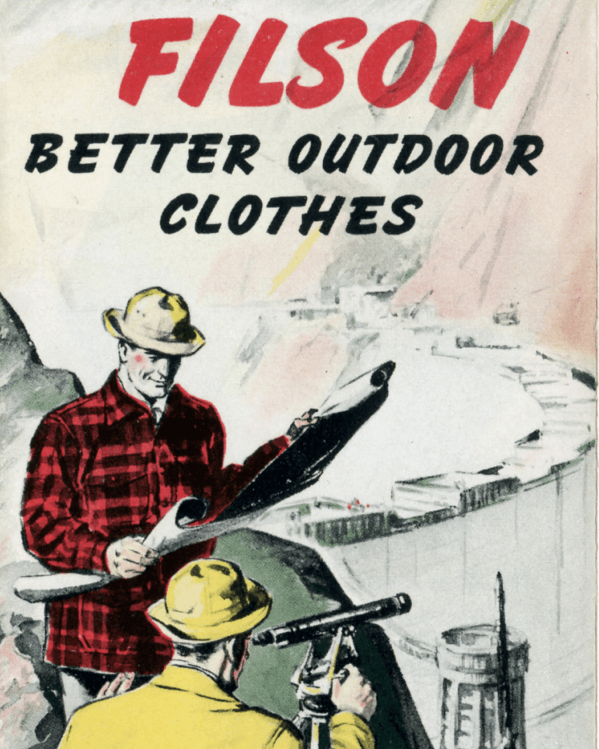 Vintage Promo image of surveyors in filson gear with text: Filson Better outdoor clothes