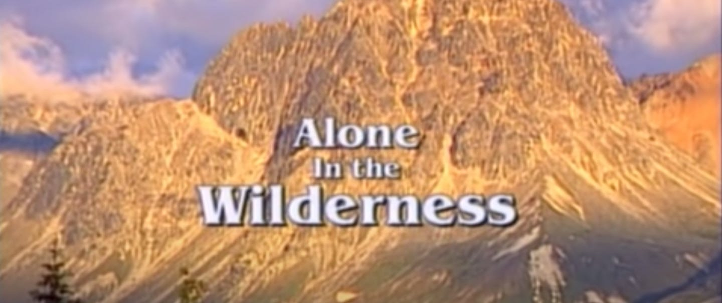 image of severe rocky mountain peak with text: Alone in the Wilderness