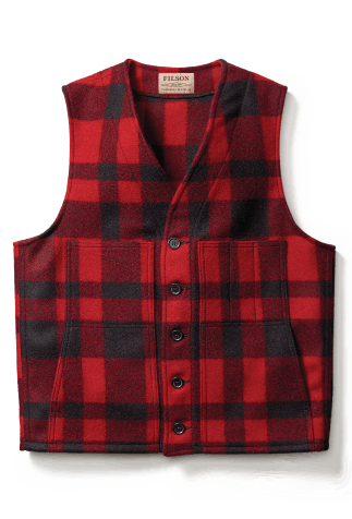 Filson Red and Black plaid vest
