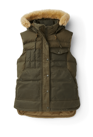 Olive colored Tin Cloth Vest with sheep wool collar
