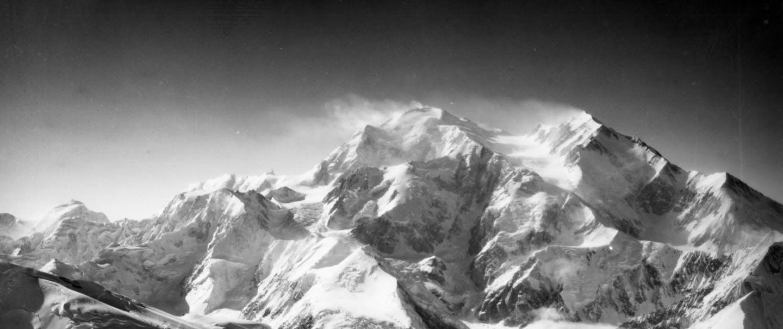black and white image of denali peak