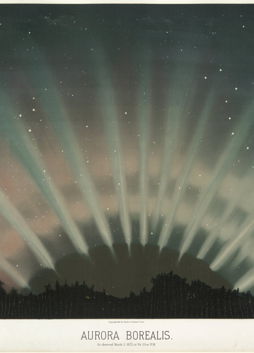 image of aurora borealis as white spikes radiating out from a black dome above a silhouetted forest as observed March 1 1872 9 Hours 52 Min. PM