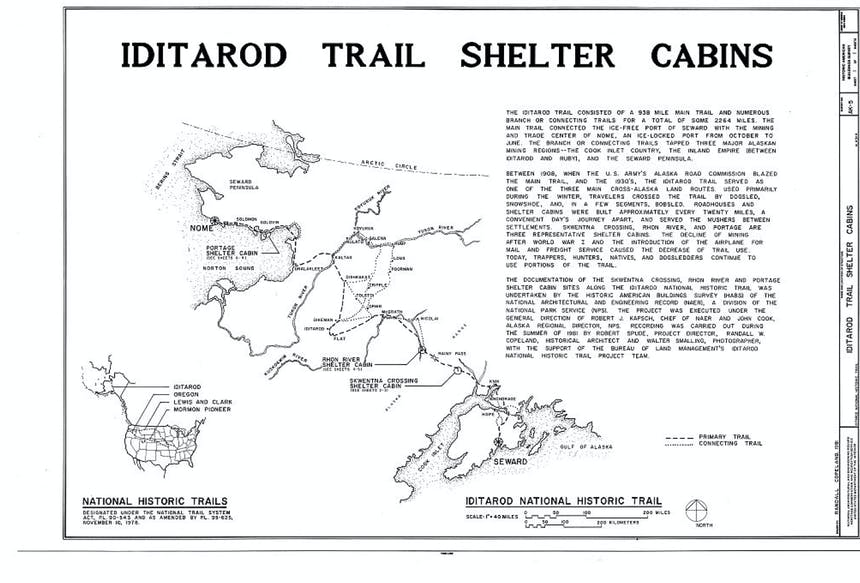 map of the iditarod trail shelter cabins