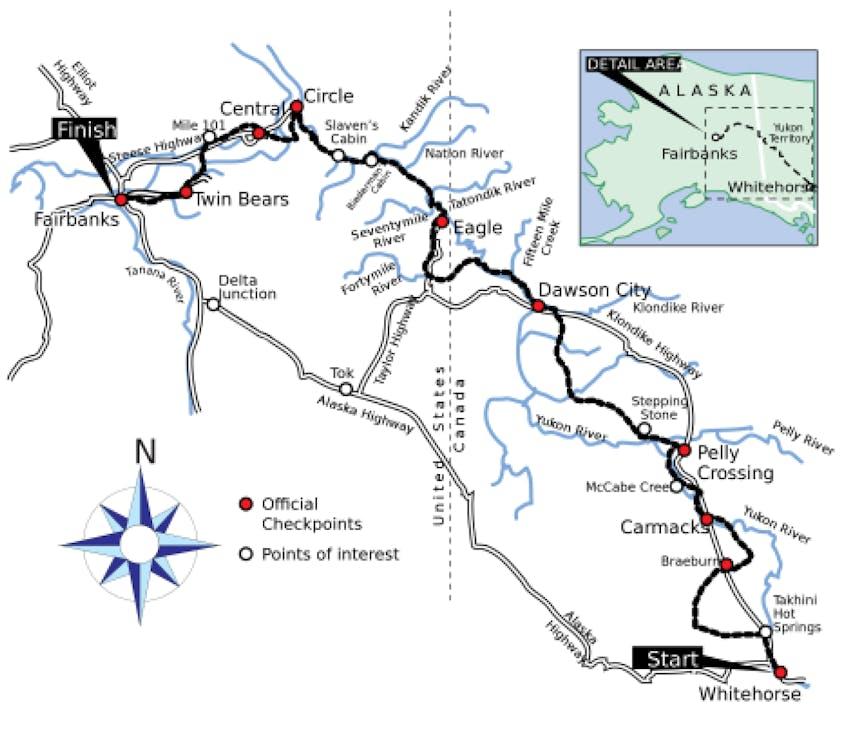 map of Yukon Dog Sled Challenge
