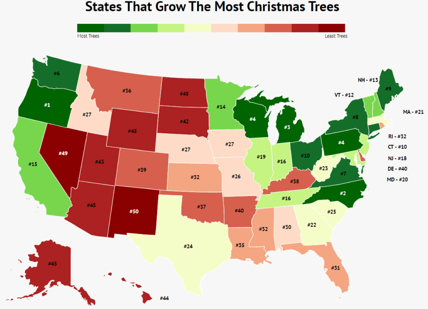 map of the USA with colored states from red to green detailing states that grow the most christmas trees