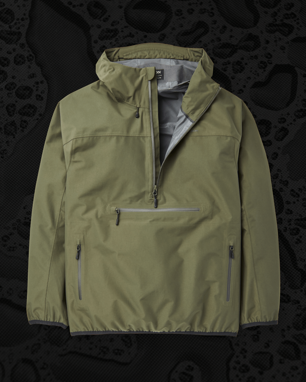 1/4 zip green active rain shell with hood