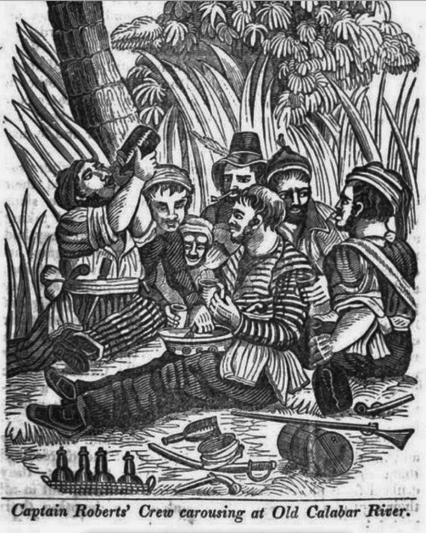 illustration of men drinking on a jungle beach text reading