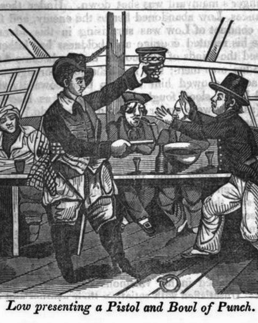 illustration of men at a pirate bar, one holding a cup pointing a pistol at a man text reading