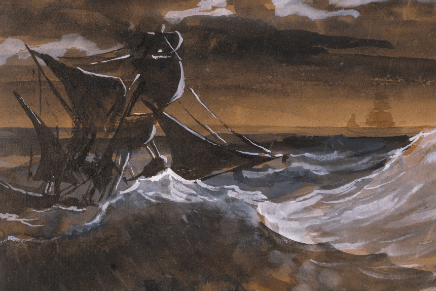 painting of a ship on very rough waters