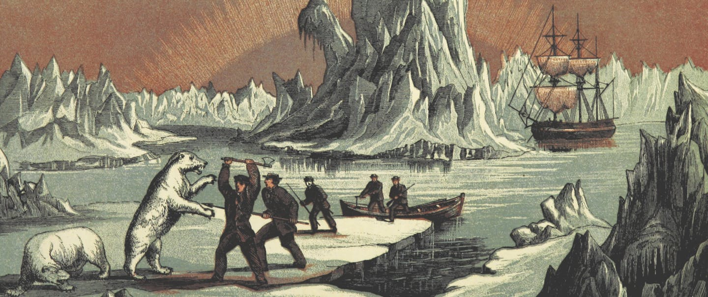 illustration of stylized arctic landscape with sailors fighting polar bears with an axe on a glacier