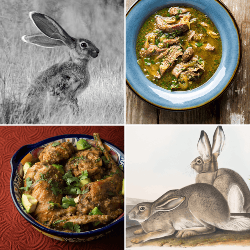 four image collage of rabits alive, in stew, and roasted