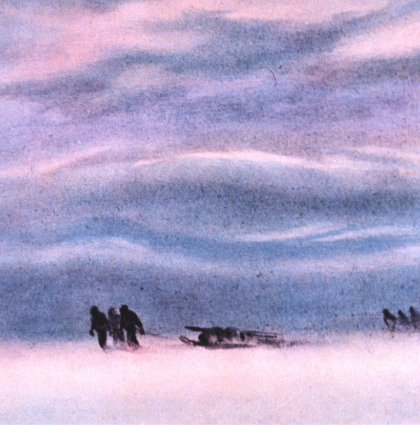 surreal old image of three people pulling a sled across a snowy ground with wavy pink and blue lightforms in the sky