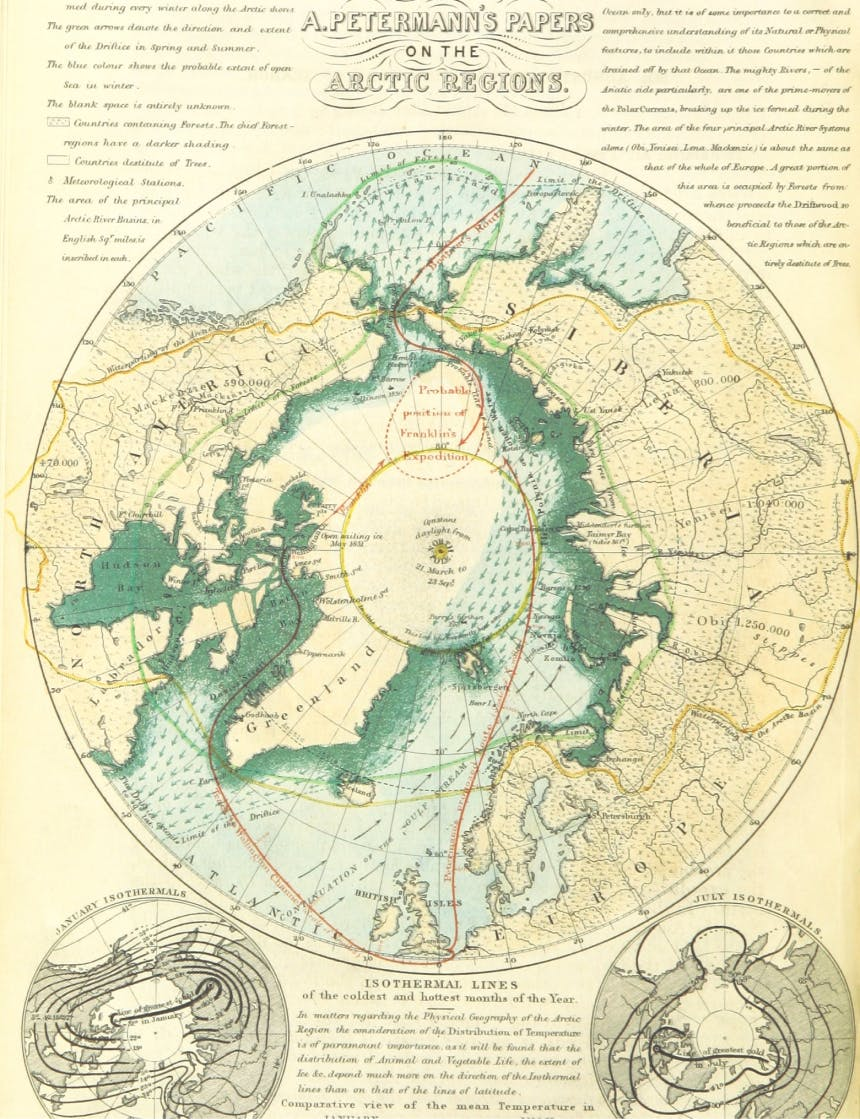 antiquated illustrated map of the bering strait and arctic regions