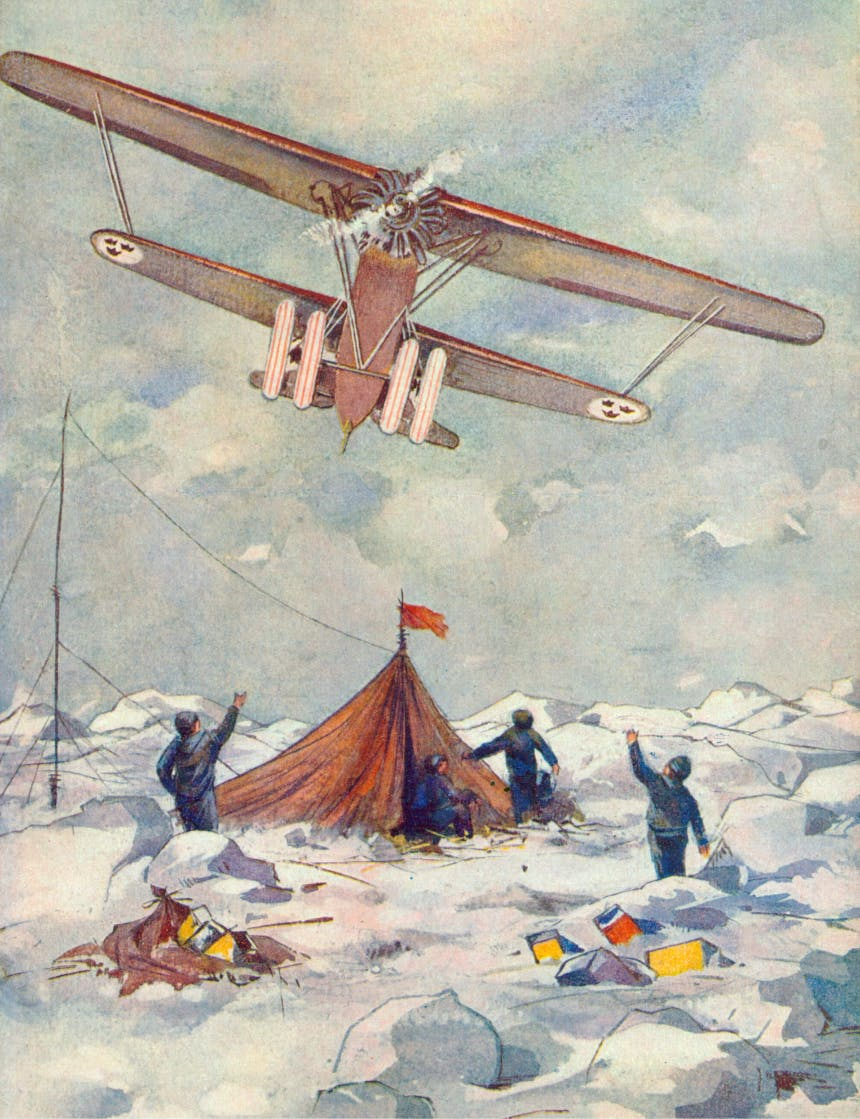 watercolor image of four people in a snowy camp site waving to a single engine propeller biplane flying over their site