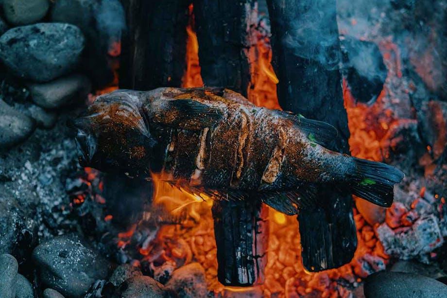 rockfish roasting over red hot coals